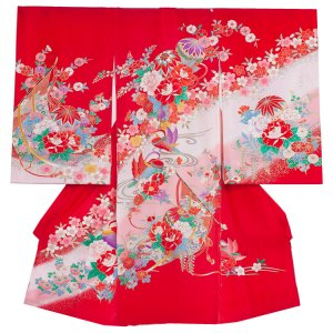 【正絹】お宮参り女の子1033 赤 /毬とおしどり