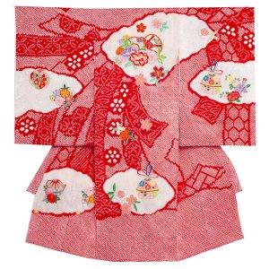 お宮参り女の子1155赤 絞り刺繍柄
