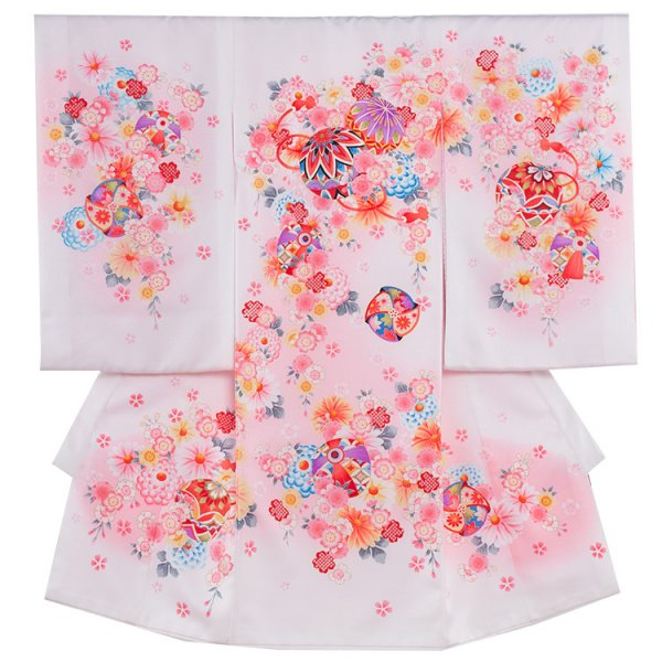 お宮参り女児1119 白地/ピンクの小花