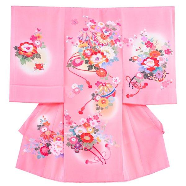 お宮参り女児1015 ピンク地/毬と牡丹・手描