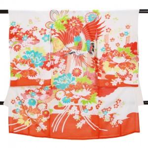 夏の女児産着 高級正絹 絽 S131 赤白