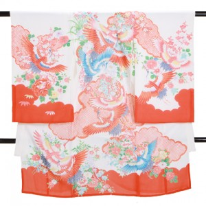 夏の女児産着 高級正絹 絽 S133 赤白