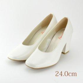 24.0 ウエディングパンプス 7.3cmヒール ホワイト