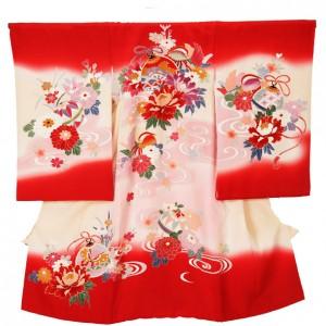 お宮参り女の子37花と毬萌え木赤