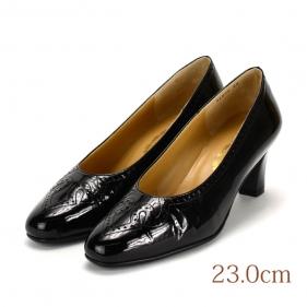 23.0 黒 エナメル 銀座ヨシノヤ5.5cmヒール
