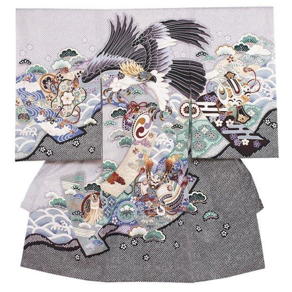 お宮参り男児291a グレー地/金頭鷹の絞り風