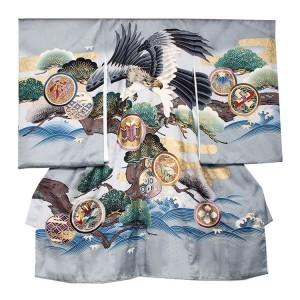 【正絹】お宮参り男の子242a グレー色/鷹と太松に波