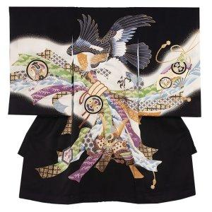 【正絹】お宮参り男の子226a 黒 /鷹と束熨斗