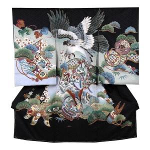 【正絹】お宮参り男の子203a 黒×水色に鷹と兜