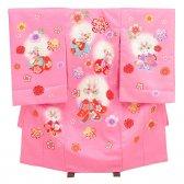 女児産着レンタル 1058花夢二(花うさぎ)ピンク