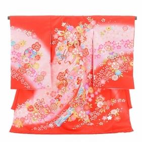 女児産着(お宮参り)1079赤 花車