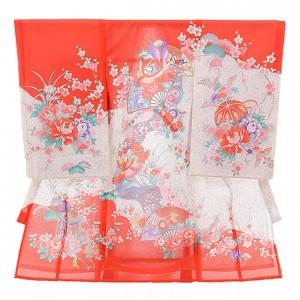 女児産着レンタル(お宮参り) 絽 1211 絽 赤地 扇に鶴