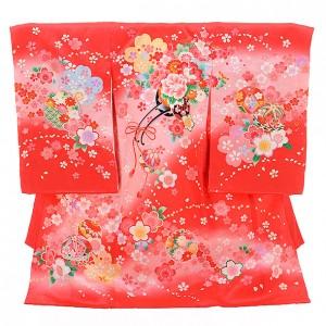 産着レンタル 女の子(お宮参り)1201 赤地 桜に花車