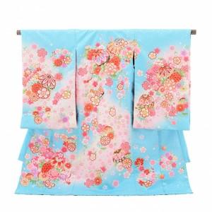 産着レンタル 女の子(お宮参り)1076水色 まり花