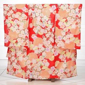 女児産着レンタル(お宮参り)1063赤地に桜(
