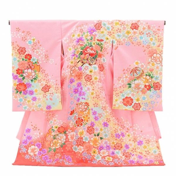 女児産着(お宮参り)1080ピンク 花車