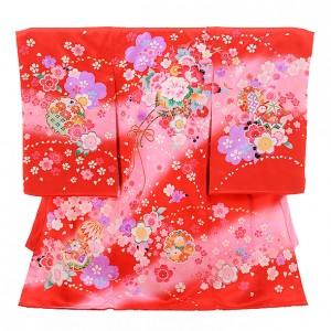 産着レンタル 女の子(お宮参り)1199 赤地 桜に花車