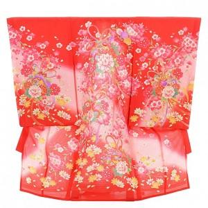 女児産着 お宮参り 正絹 絽 1478 赤地 のしに牡丹と桜