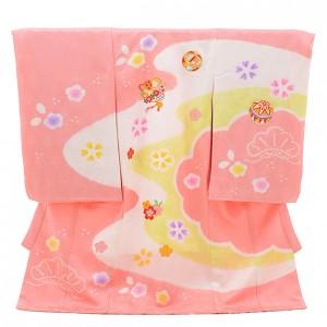 女児産着 お宮参り 正絹 1464 ピンク地 絞り 松 梅 まり ししゅう