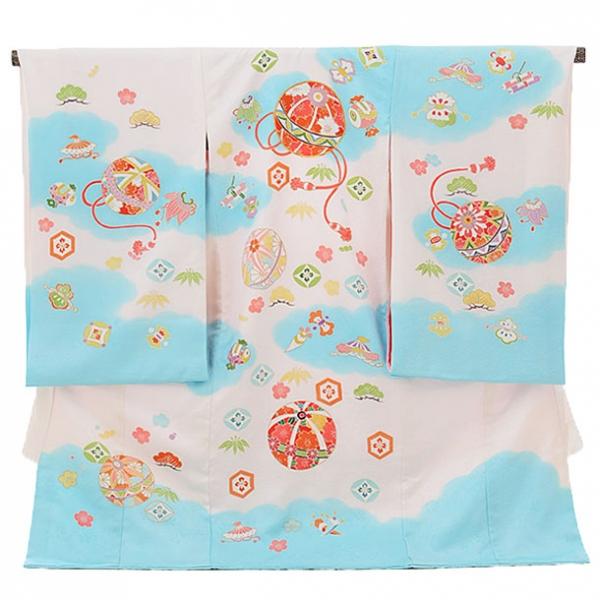 女児産着(お宮参り)1142 白地に水色の雲取り暈かし(正絹)