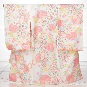 女児産着レンタル(お宮参り)1065白地に桜(