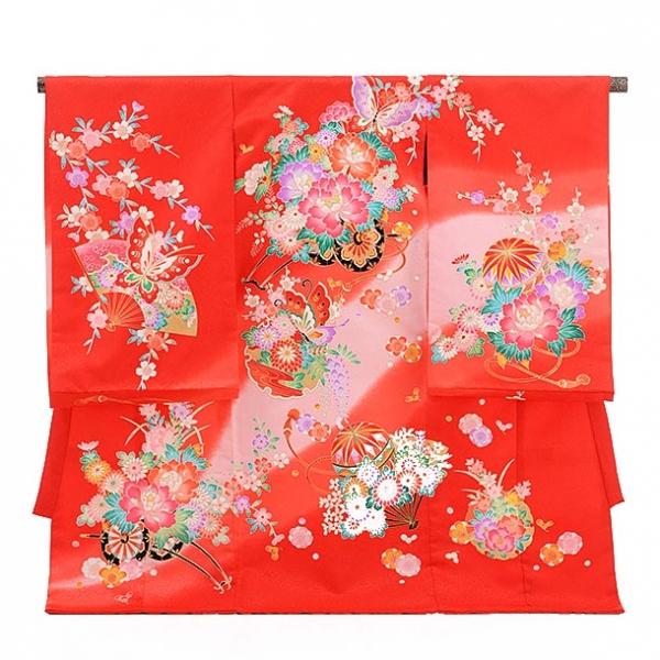 女児産着(お宮参り)1133赤 花車