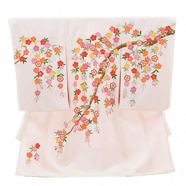 女児産着(お宮参り)1141 手刺繍 枝垂れ桜(正絹)
