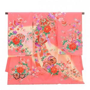 女児産着(お宮参り)1131濃ピンク 鞠に蝶