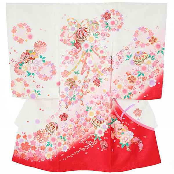 女児産着0013 白 鞠/桜
