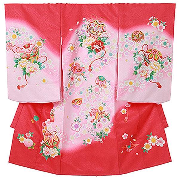 女児産着0002 赤 鞠/桜/牡丹