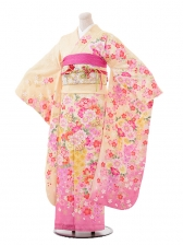 振袖F022クリーム地裾ピンク桜花