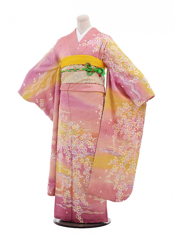 振袖F028 ピンク地 かすみ桜