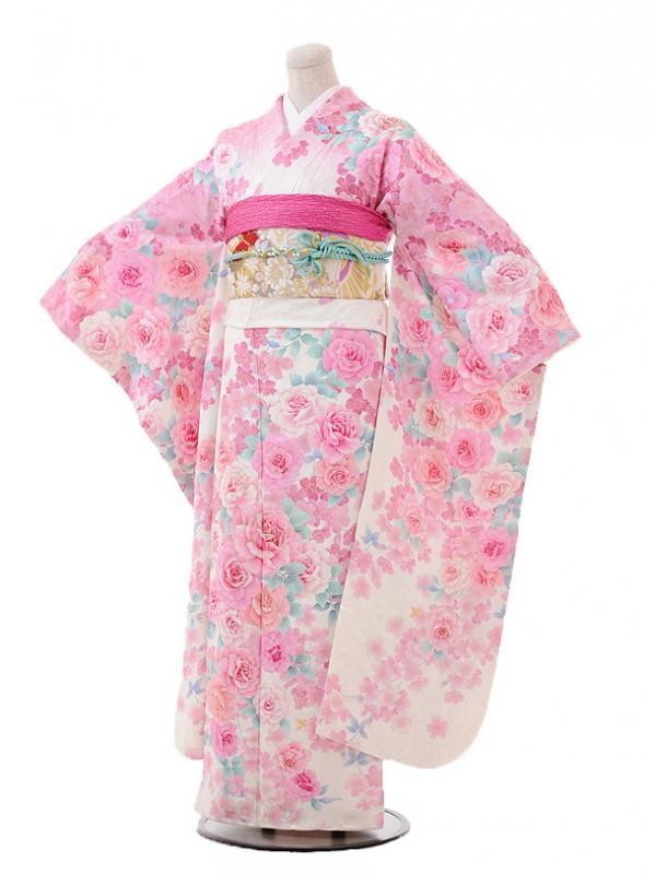 振袖F018seiko白ピンクぼかしバラ