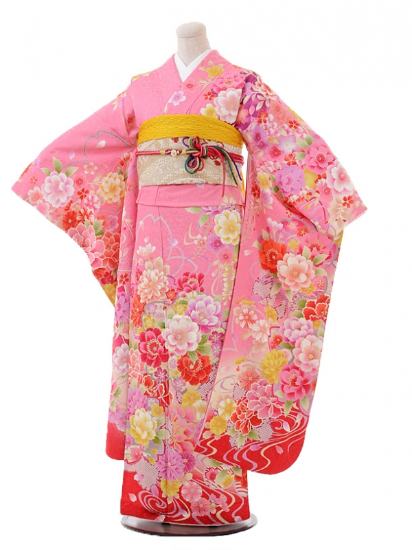 振袖F011ピンク地裾赤流水花