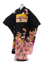 振袖F013黒地裾ピンク古典