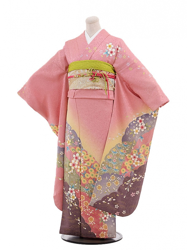振袖F027 ピンク地 ぼかし桜花