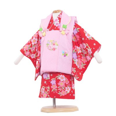 ベビー着物(女)340 赤/ピンクの被布