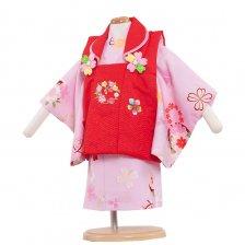 ベビー着物(女)341 ピンク/赤の被布