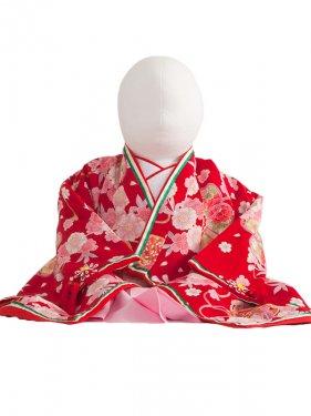 ベビー着物(女)229 赤地/お姫様十二単衣