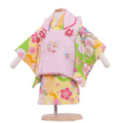 ベビー着物(女)342 黄色/ピンクの被布