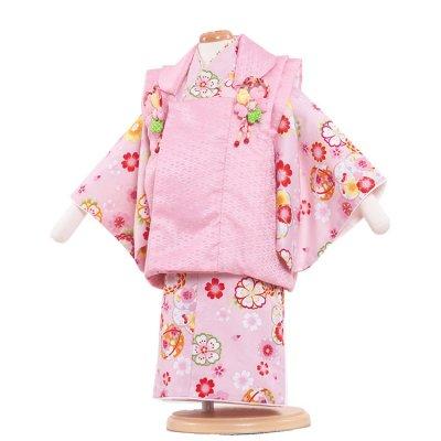 ベビー着物(女)325 ピンク/コスモスと兔