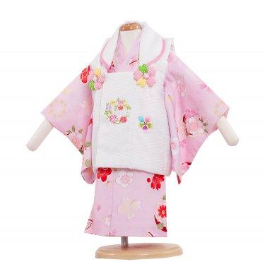 ベビー着物(女)337 ピンク色/花