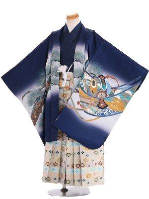 七五三 5歳 男袴 B002 紺 兜