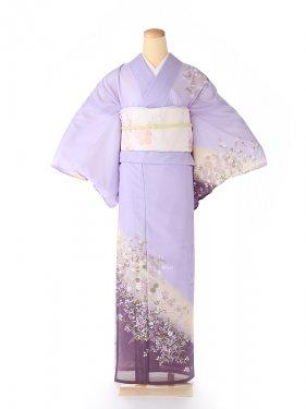 絽 訪問着 紫 撫子 5079