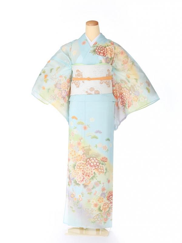 絽 訪問着 japan style 牡丹 青 5073