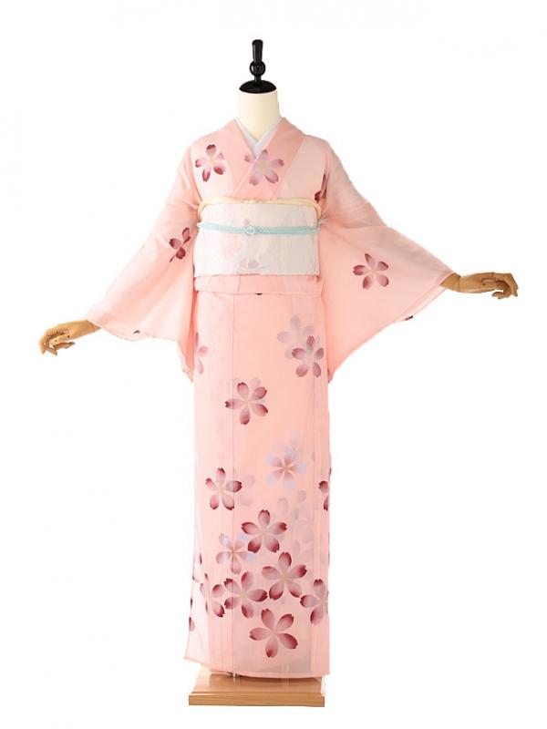 絽 訪問着 ピンク 桜 5093