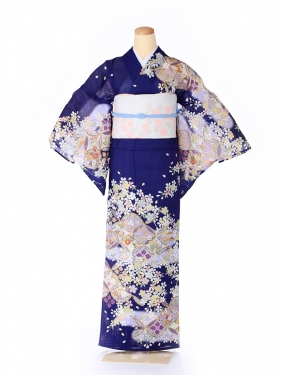 絽 訪問着 japan style 七宝 青 5071