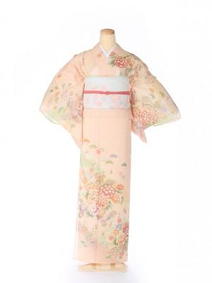 絽 訪問着 japan style 牡丹 ピンク 5074