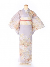 絽 訪問着 japan style 七宝 紫 5070