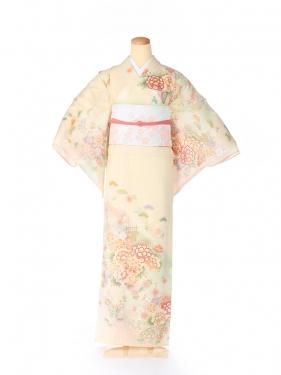 絽 訪問着 japan style 牡丹 黄色 5072